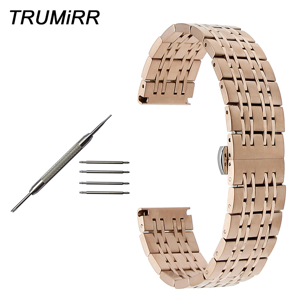 Stainless Steel Watchband 20mm 22mm for IWC Men Women Watch Band Butterfly Buckle Strap Wrist Bracelet Black Rose Gold Silver watch strap 22mm silver rose golden stainless steel watchband bracelet for hours gd015622