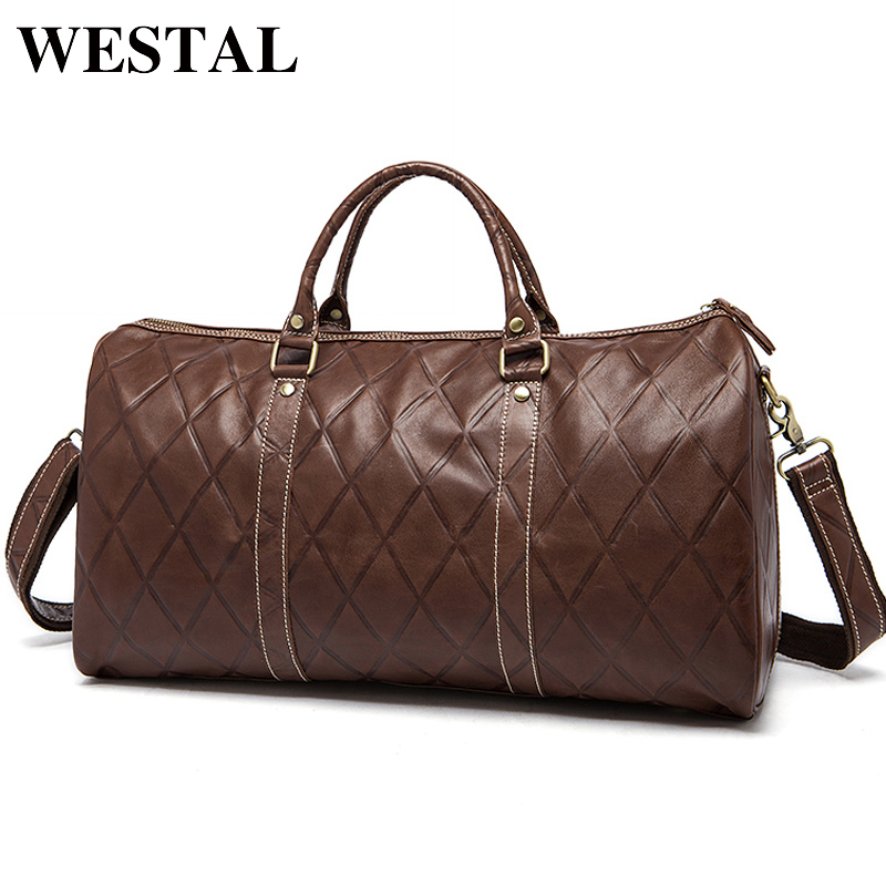 WESTAL Large Duffle Bag Genuine Leather Men Luggage and Travel Bags Carry On Luggage Casual Travel