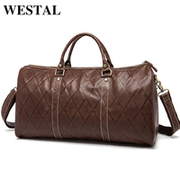 WESTAL Large Duffle Bag Genuine Leather Men Luggage and Travel Bags Carry On Luggage Casual Travel Folding Bag Big Leather 1096