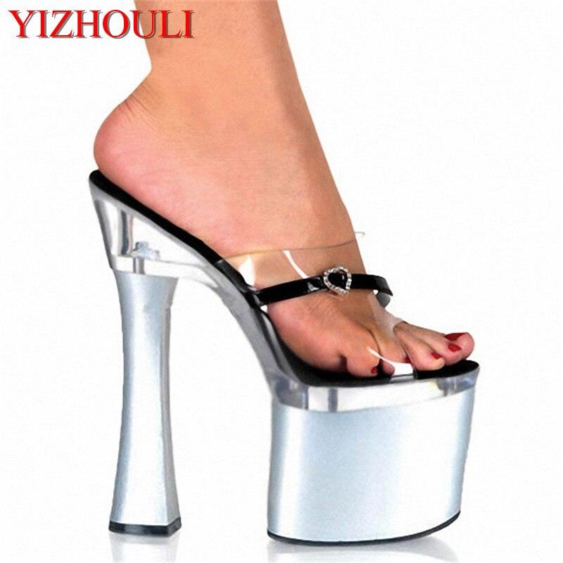 Elegante 7 pulgadas oro de baile zapatillas de tacón alto 2018 en forma de  corazón transparente 18 cm boda del dedo del pie abierto de las sandalias 14c8092bd860