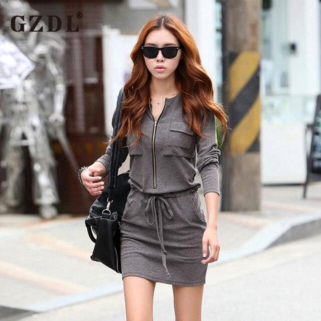 GZDL 2016 Spring Autumn Dress Women Ladies Long Sleeve Zipper Tunic Elastic Waist Bodycon Casual Mini Vestidos Femininos CL1066