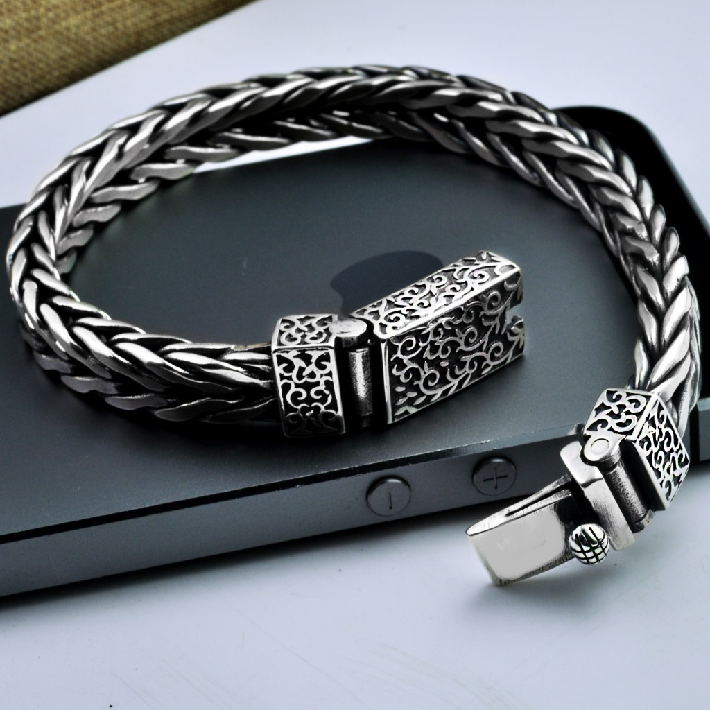 Thai Silver Mens Bracelet Wide Handmade Woven Braided Real 925 Sterling Silver Personalized Bracelet With Flower Pattern