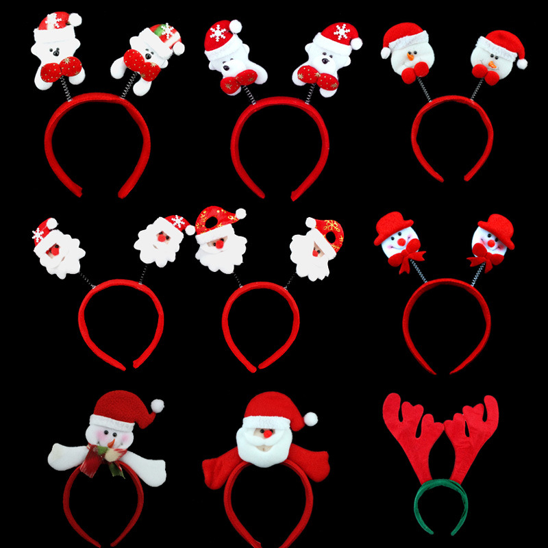 Women Girl Cute Christmas Headband Decoration Santa Claus Snowman Festival Hair Band Bell Feather Accessories Christmas Gift