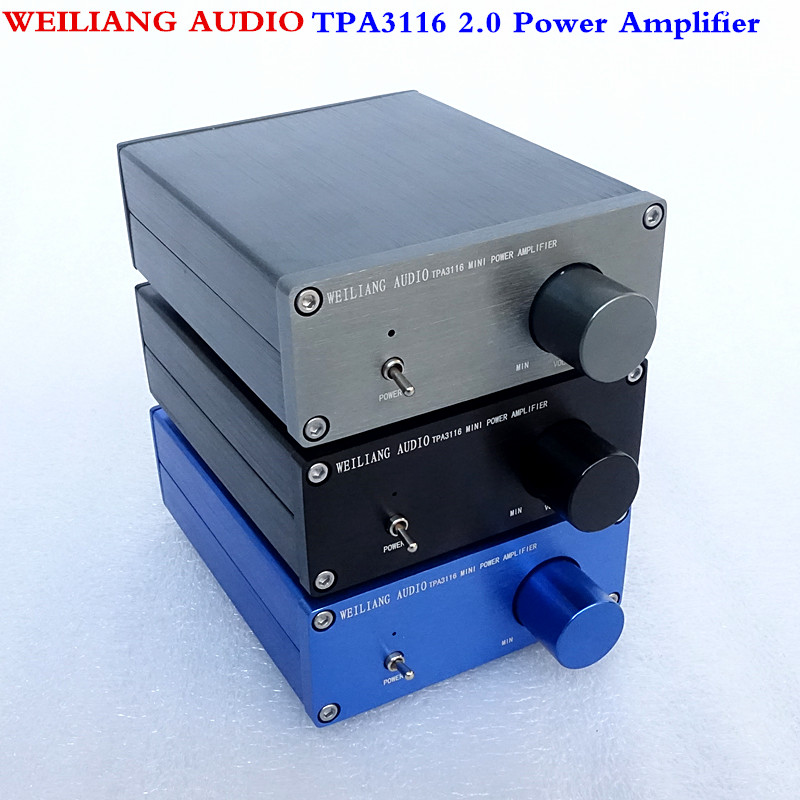 WEILIANG AUDIO HiFi Class 2.0 Audio Stereo Digital Power Amplifier TPA3116 Advanced 2*50W Mini Home Aluminum Enclosure amp