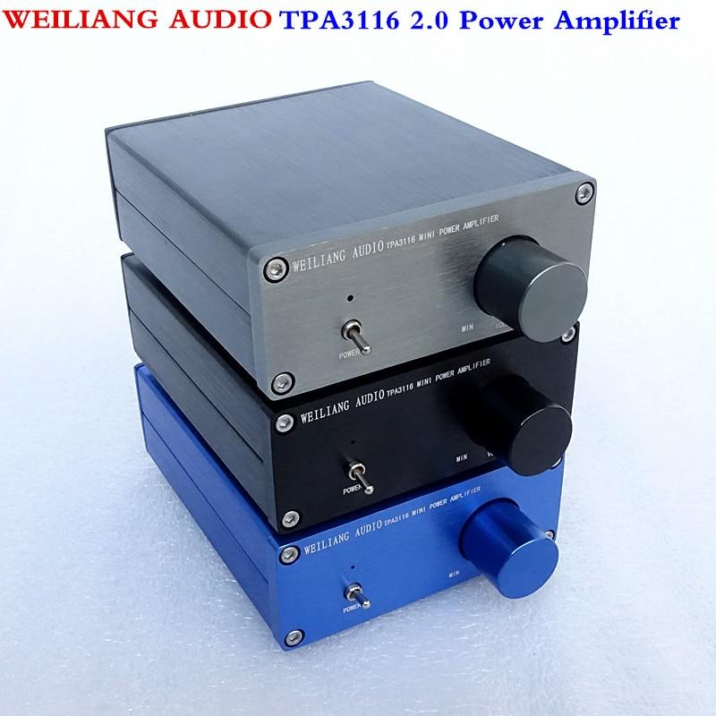 WEILIANG AUDIO HiFi Class 2.0 Audio Stereo Digital Power Amplifier TPA3116 Advanced 2*50W Mini Home Aluminum Enclosure amp