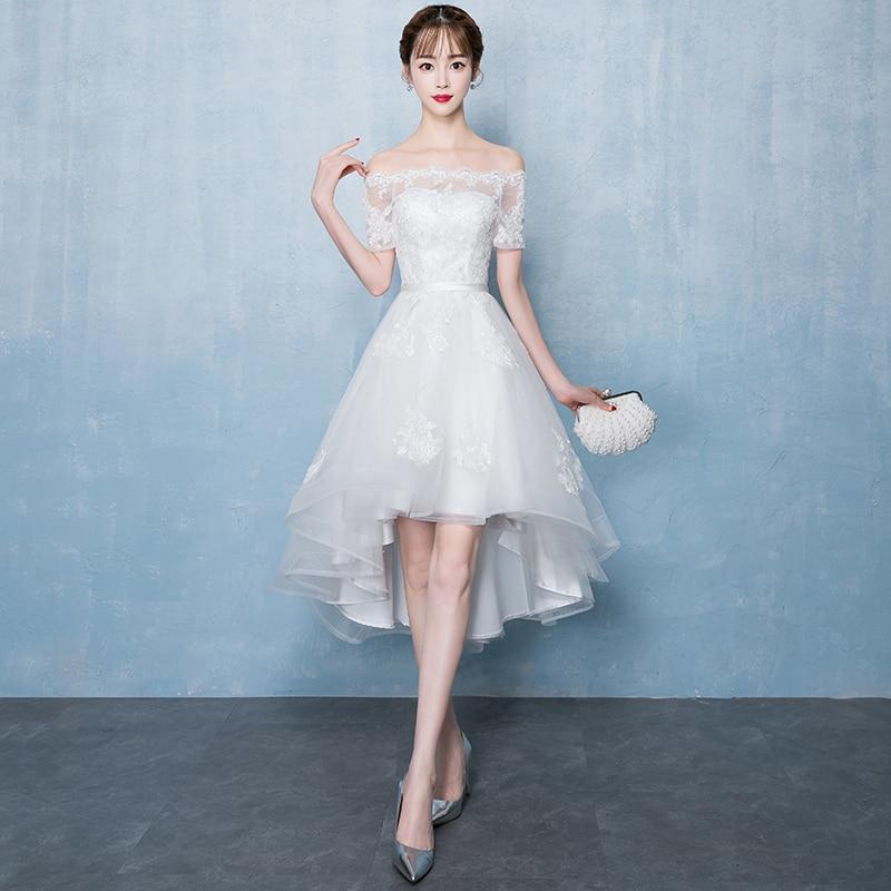 White Noble Women Slim Evening Dress Elegant Off Shoulder Bride Bridesmaid Wedding Gowns Formal Banquet Annual