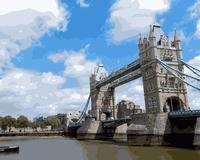 MaHuaf J302 London Thames River Tower Bridge Boat Cloud DIY Coloring By Numbers Wall Decoration Painting