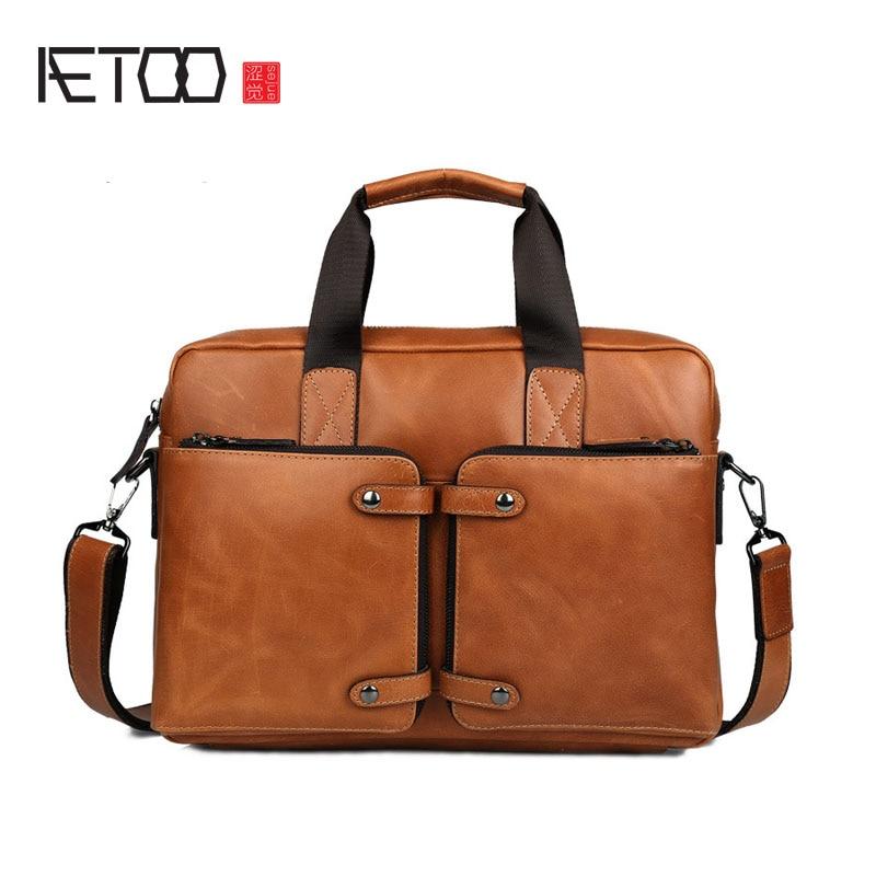 все цены на AETOO Tide cow high - grade oil wax leather briefcase cowhide handbag business men 's leather computer bag Messenger bag онлайн