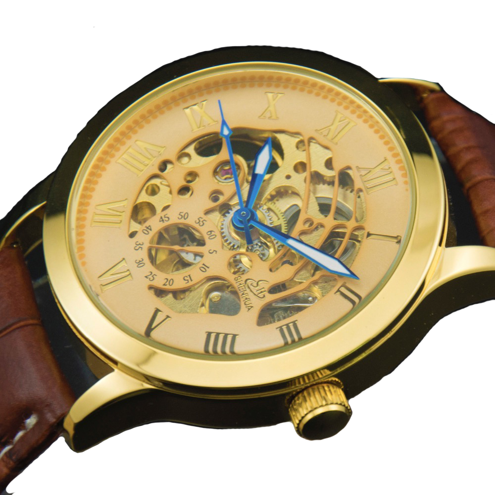 2017 New Luxury Brand Mechanical Watches Men Skeleton Roman numerals Golden Case Display Male Business Vintage Automatic Watch luxury brand sport clock roman numerals dial men mechanical hand wind watch skeleton vintage watches leather strap 2017 new