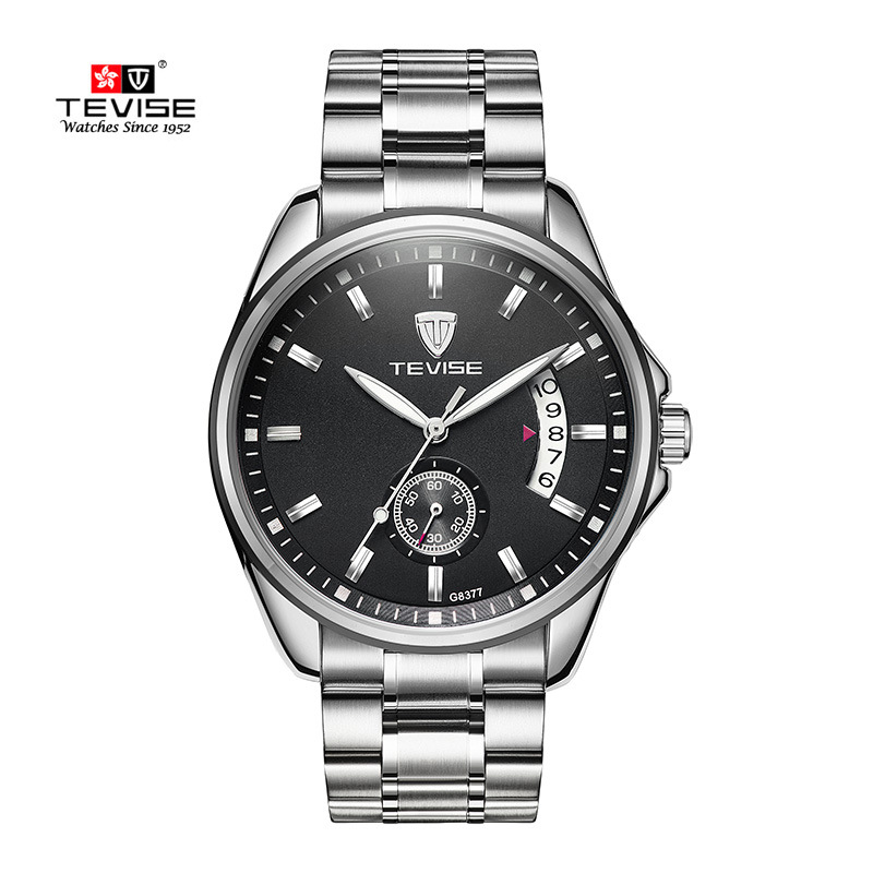 Automatic Mens Watches Business Classic Mechanical AUTO Date Day Stainless Steel Band Skeleton Self-wind Wristwatch TEVISE Watch tevise men automatic self wind gola stainless steel watches luxury 12 symbolic animals dial mechanical date wristwatches9055g