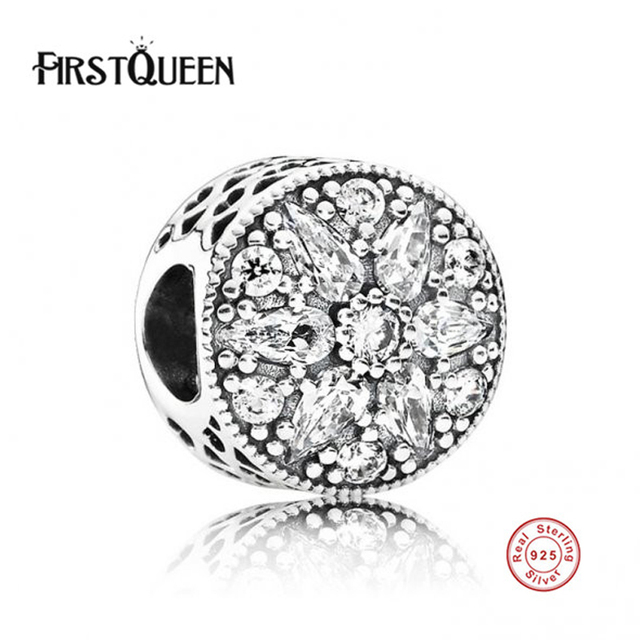 FirstQueen 100% 925 Sterling Silver Beads,Radiant Bloom Charm fits FirstQueen Bracelets Beads.Authentic Fine Jewelry