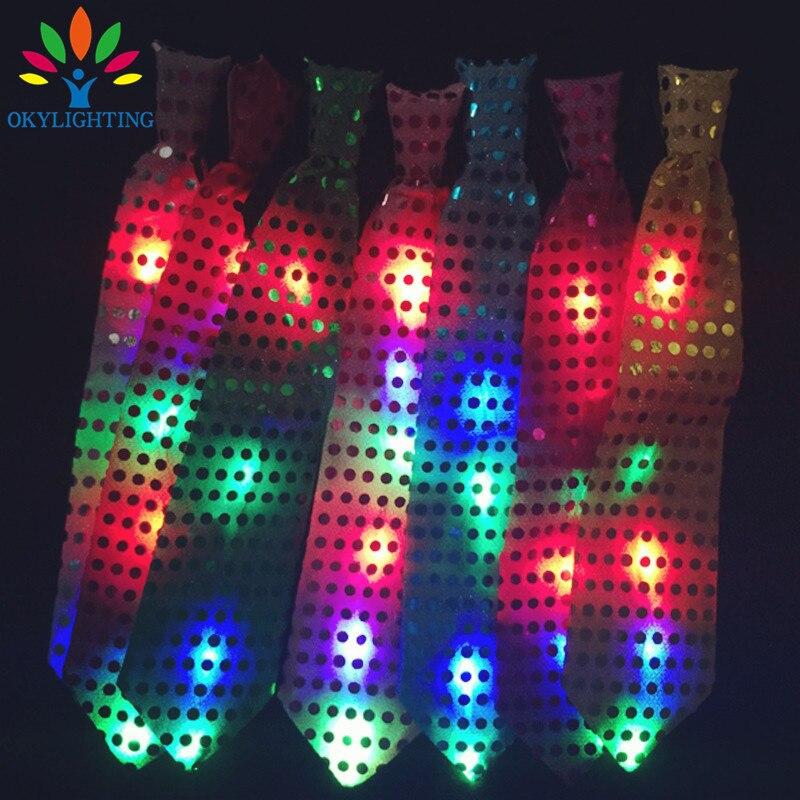 5pcs / lot vodio svjetleći vrat kravata Mixcolor treperi muško / - Za blagdane i zabave - Foto 2