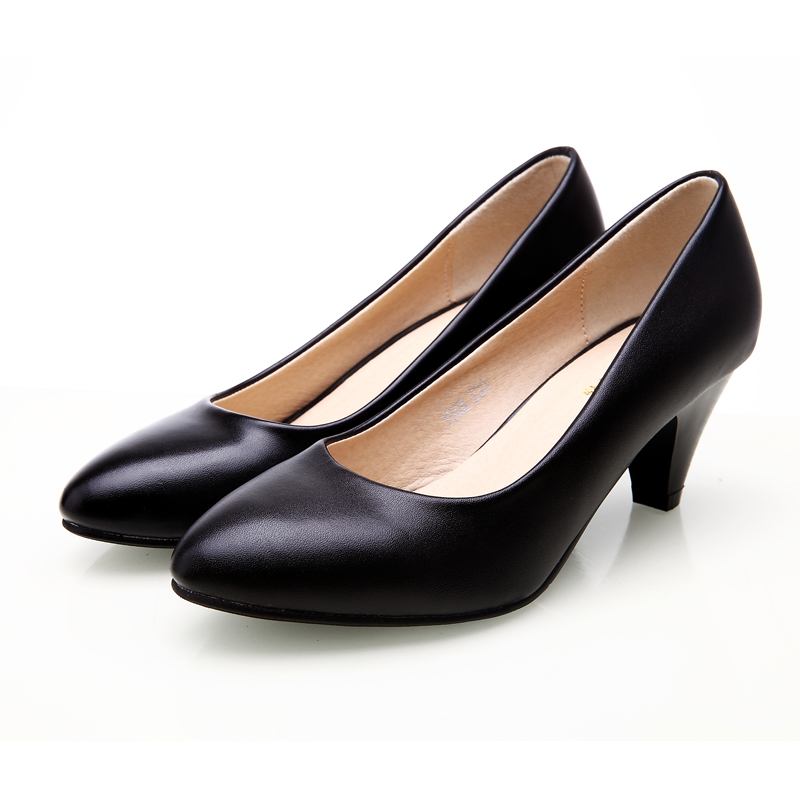 Yalnn Women Shoes 5cm New Med Heel Round Toe Black Leather Shoes