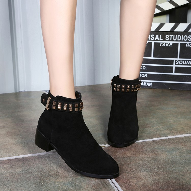 2016 Autumn New Fashion Chunky High Heels Shoes Rivet Womens Black Leather Ankle Boots Sale Gray Booties