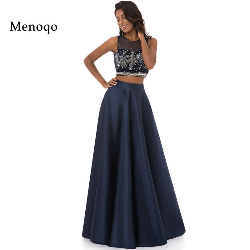 Menoqo 2019 New Arrival Two 2 Piece   Prom     Dresses   Scoop Sleeveless A-Line Floor Length Beading Party   Dresses   Vestido De Vesta