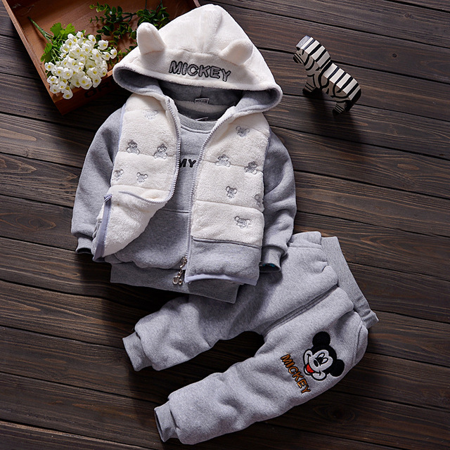 3Pcs Autumn Winter Boys Girls Coats Children Sets Plush Warm Toddler Top Tanks Hoodies+Long Sleeve Sweatshirt+Baby Pants Clothes