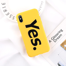 Cute YES Phone Case For iPhone6 7 8 6Plus frosted hard shell  text  Phone Case For iPhoneX new Japanese and Korean  phone Case