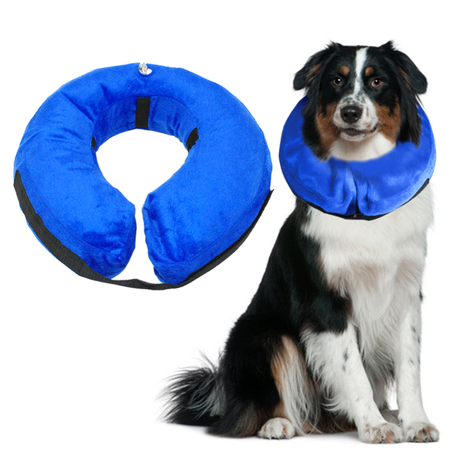 Inflatable Dog E-collar Comfortable  Dogs Cat  Protective Recovery Collar Blue Color