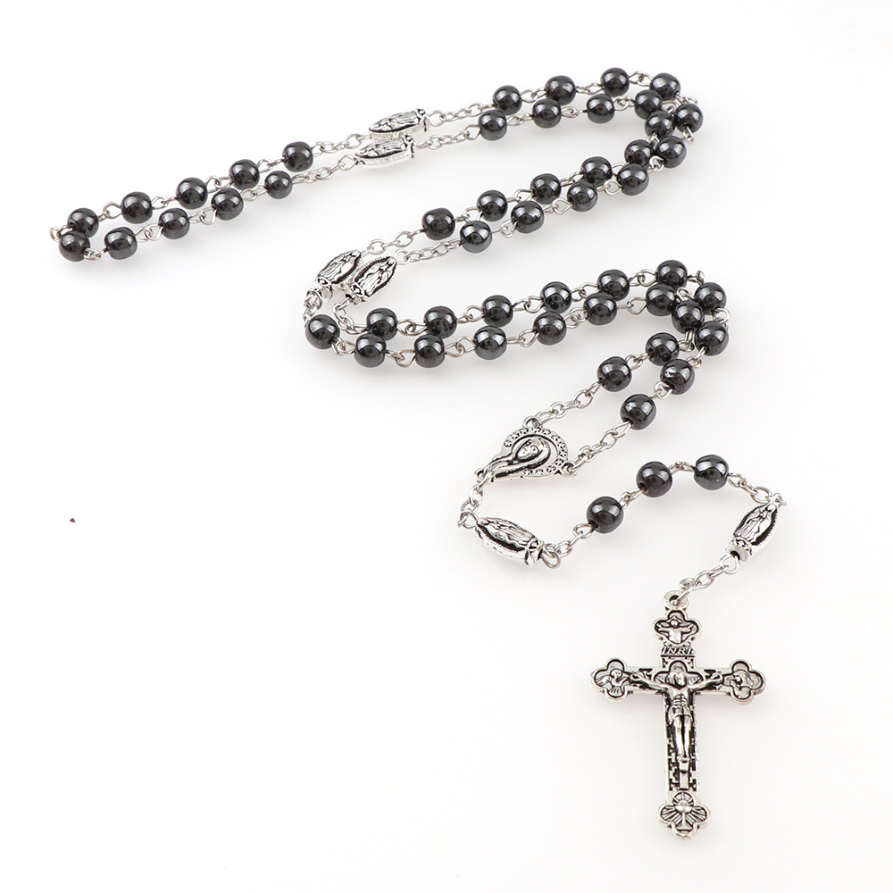 6eaf059e574 Detail Feedback Questions about 6mm Round Hematite Bead Catholic Rosary  Pendant Necklace Alloy Cross Jesus Cross Benedict Connectors Religious  Necklaces on ...