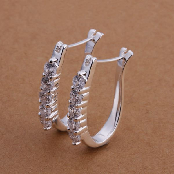 Free Shipping!!Wholesale 925 jewelry silver plated  Earring,silver plated  Fashion Jewelry,Cute Zircon Earrings SMTE312