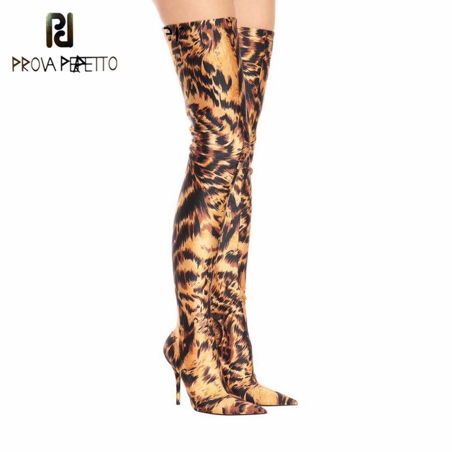 Prova perfetto Leopard Print Elastic stockings thigh high boots Women Sexy Stiletto High Heels Point Party