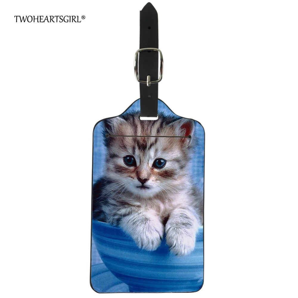 Twoheartsgirl Cute Cat Print Luggage Tag Funny Suitcase ID Address Holder Kawaii Baggage Boarding Tag Label Travel Accessories