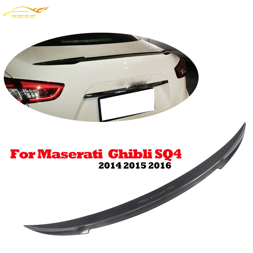 Carbon Fiber Rear Spoiler Tail Trunk Lid Lip Wing for Maserati Ghibli SQ4 2014 2015 2016 Auto Racing Car Styling