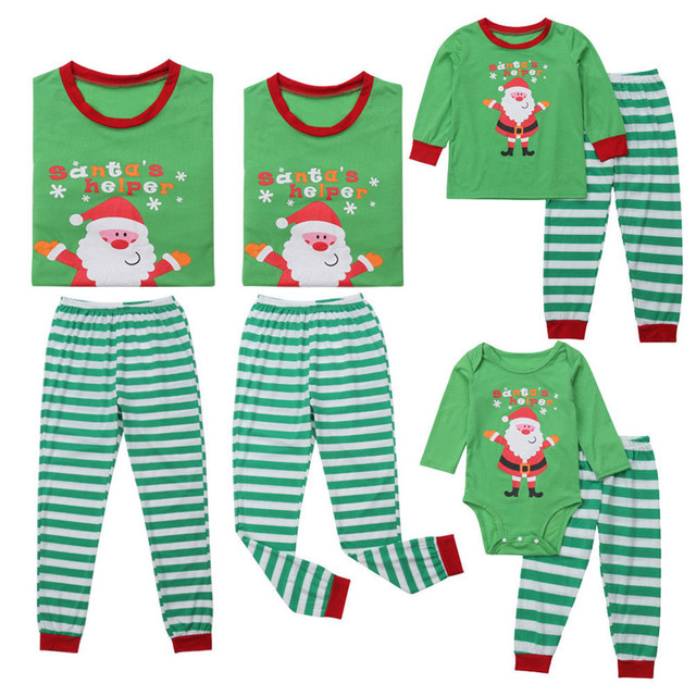 e91eae9ecd Family Matching Christmas Clothes Dad Mom Kids Pajamas Set Women Men Baby  Sleepwear Printing Santa Nightwear Casual Green Outfit