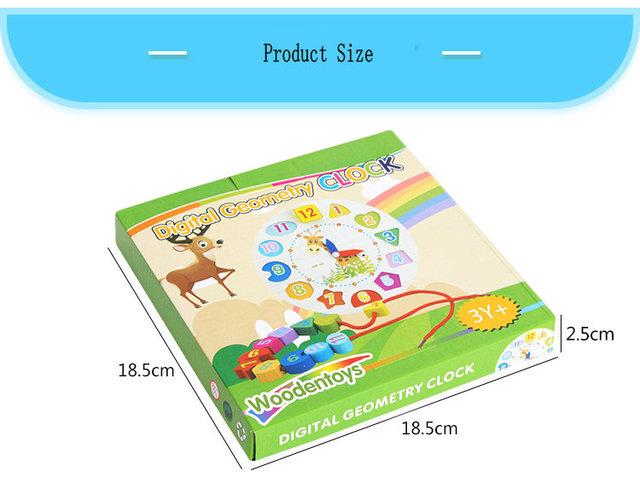 Free shipping Cartoon Animals Clock Wooden Blocks, Digital geometry block toy, Cartoon Wooden Rabbit Clock for Kids toy