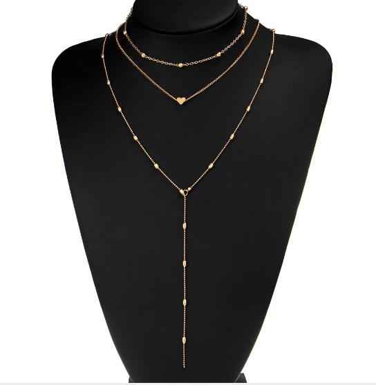 European Simple Multi Layers Tassels Bar Coin Necklace Clavicle Chains Charm Wom