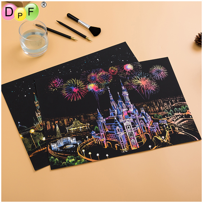 Creative DIY Scratch Art Painting Paper with Wooden Drawing Stick Kid Adult Home /& Garden Home DIY Decor for Adults and Kids
