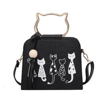 2017 Fashion New Handbags High quality PU leather Women bag Cartoon Printing Cat Shoulder Messenger bag Metal Handle Tassel bag ортопедическое изделие sport elite 5101ns суппорт бедра