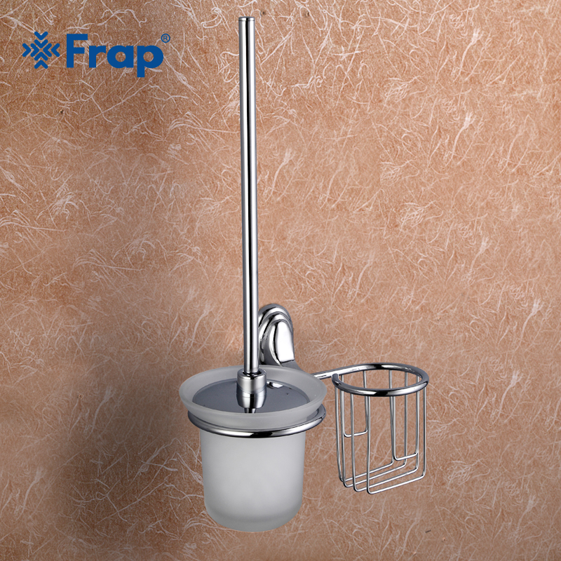 Frap 1set Wall-mount Zinc alloy Toilet Brush Holder basket Mounting Seat holder Glass cups Bathroom Hardware Accessories F1510-1Frap 1set Wall-mount Zinc alloy Toilet Brush Holder basket Mounting Seat holder Glass cups Bathroom Hardware Accessories F1510-1