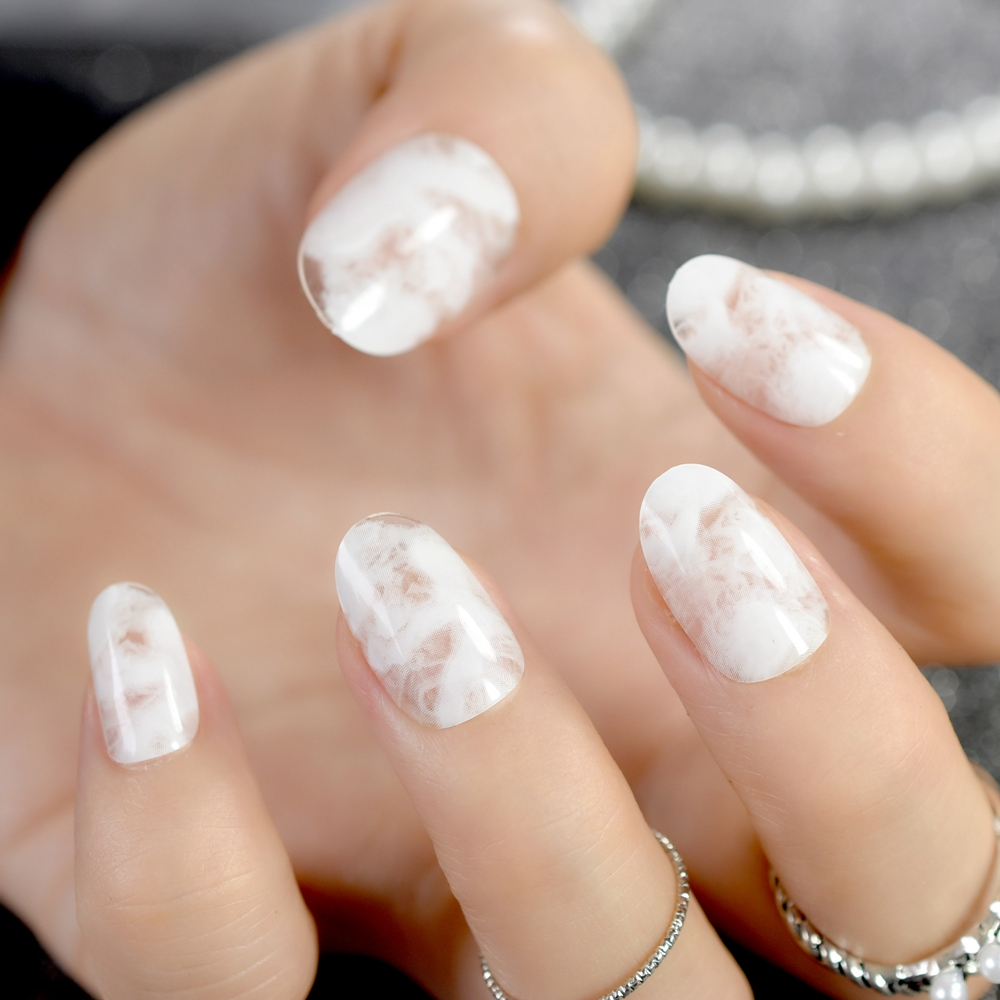 White Marble Acrylic Nails Round Medium Full Wrapped Finished Pre ...