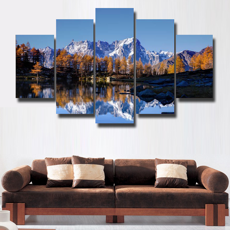 Theme Natural Scenery 5 Pcs Set Wall Art Painting Canvas Print Modern Poster Picture High Definition Free Shipping