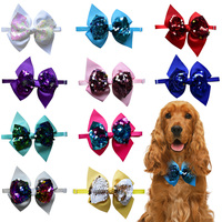 60/120PCS Shining Pet Dog Cat Bow Ties for Puppy Midium Adjustable Bowknot Dog Bowties Collar Pet Grooming Accessories