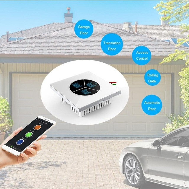 Wireless Garage Door Opener Remote WiFi Switch Universal Controlled by Smartphone for Automatic Gate Opener System