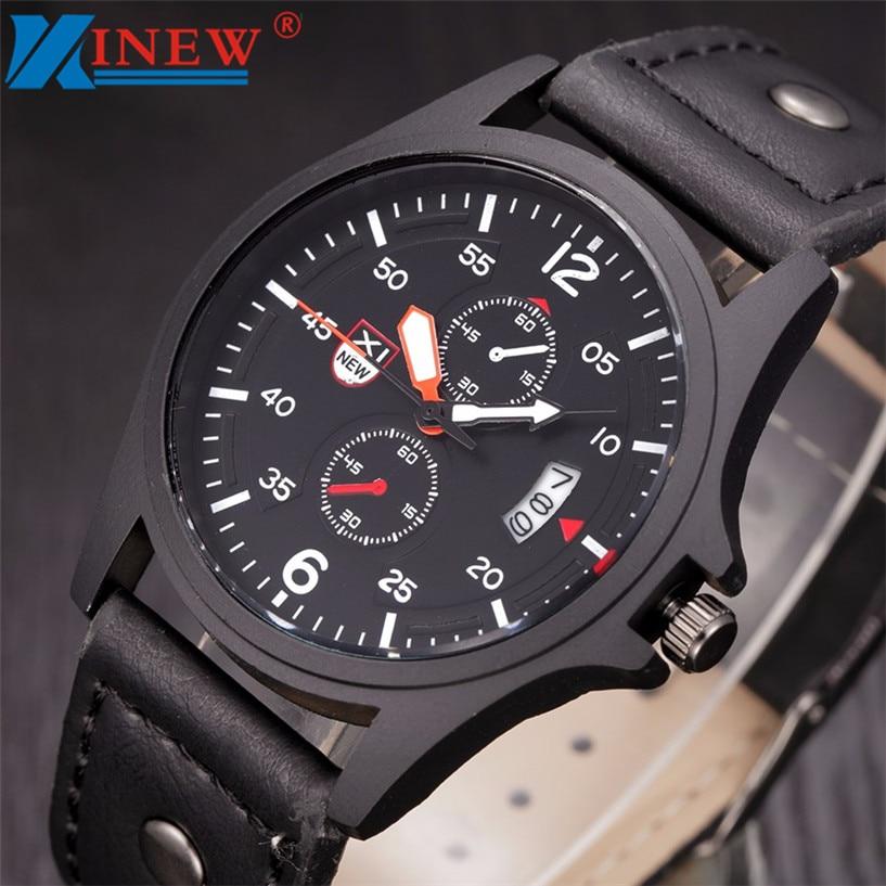 XINEW Fabulous Military Leather Waterproof Date Quartz Analog Army Men's Quartz Wrist Watches fabulous 2016 quicksand pattern leather band analog quartz vogue wrist watches 11 23