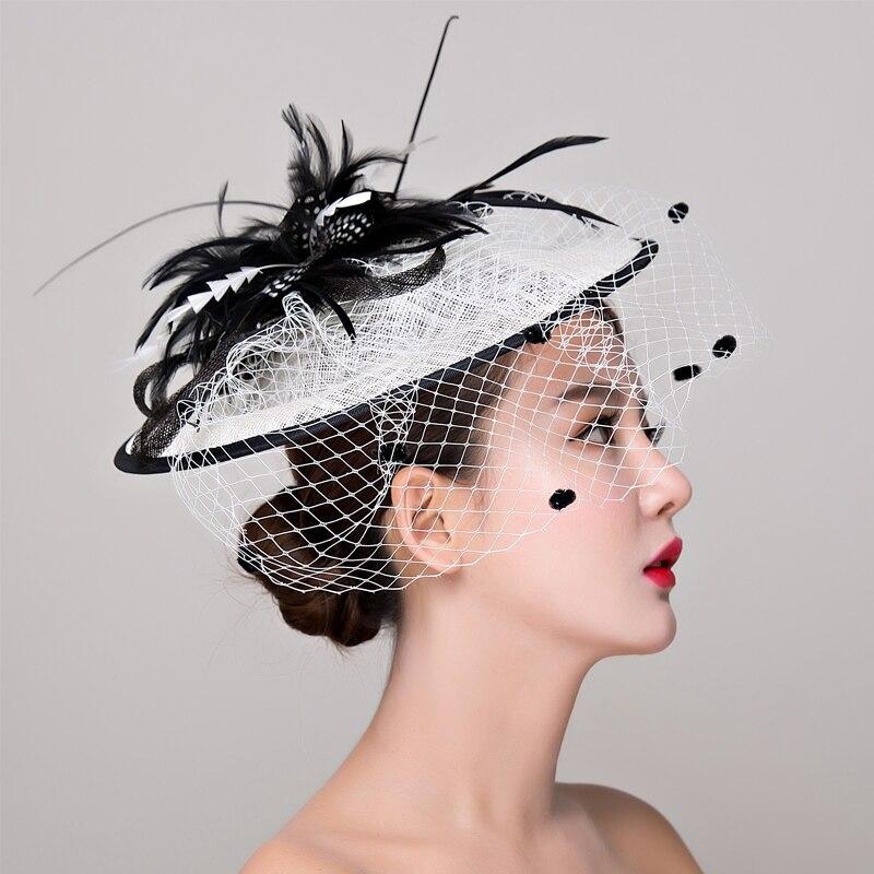 Черный, белый цвет для торжественного случая для женщин элегантный перо Вуалетка для волос шляпа Коктейль вечернее вечерние Головные уборы волос зажим, аксессуар для волос