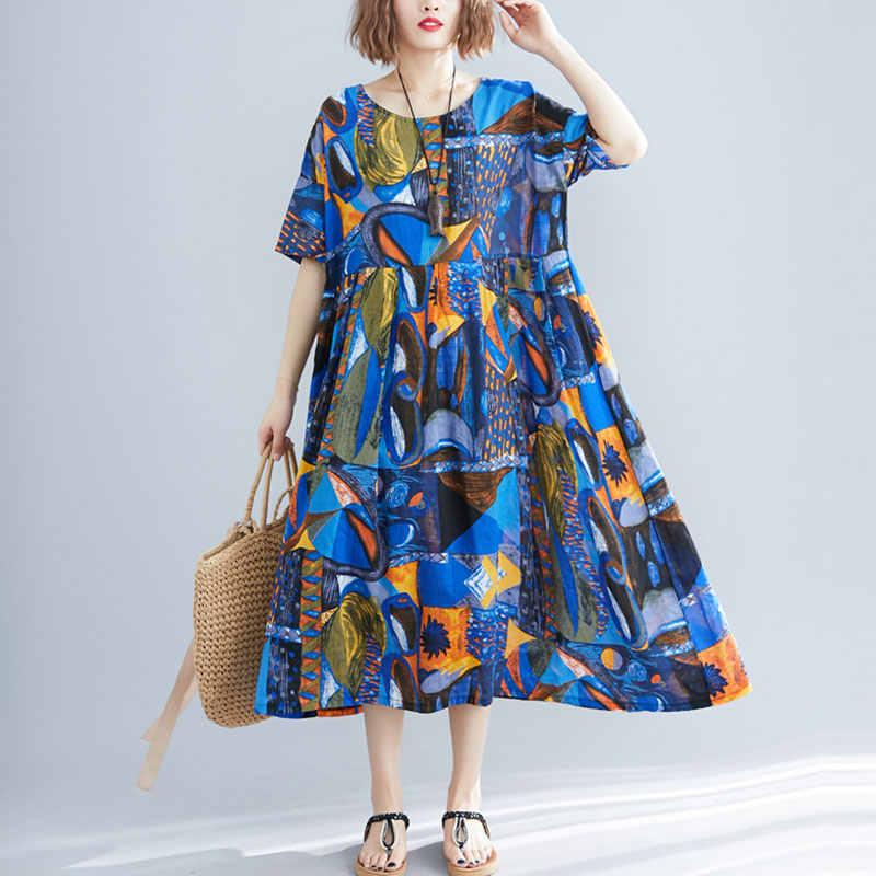 F & je プラスサイズ女性は夏の緩いバットウィングスリーブロングドレス綿女性ヴィンテージプリントドレス大の女性 vestidos Y927