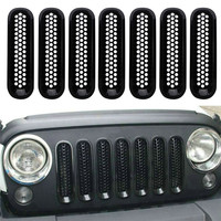 Gloss Black Front Mesh Grille Inserts Grill For Jeep Wrangler JK Rubicon Sahara 07 17 Car Front Radiator Air Intake Vent Trim /