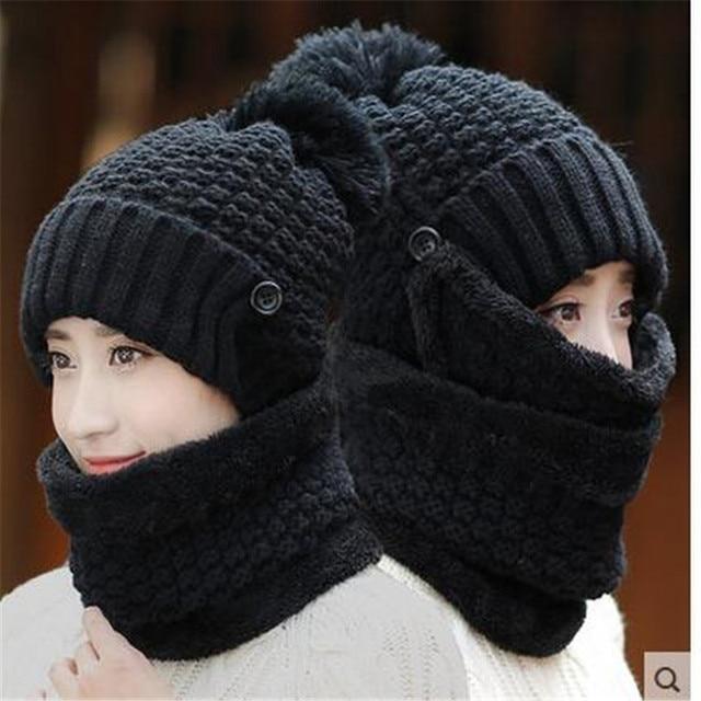 mens winter hats bike hats women winter wool knitted hats thickening warm  hat masks hooded cap bone feminino beanies cc83f232c1b