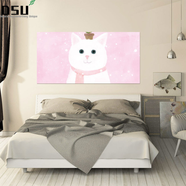 Cartoon Design Cute Cat Wall Stickers for Bedroom Headboard Wall Decal lovely Style Art Mural Girls Room Bed Decor Home Decor
