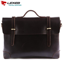 LEXEB Brand Office Bag Leather Men Laptop Bag 15 Inches Lawyer Briefcase High Quality Solid Coffee