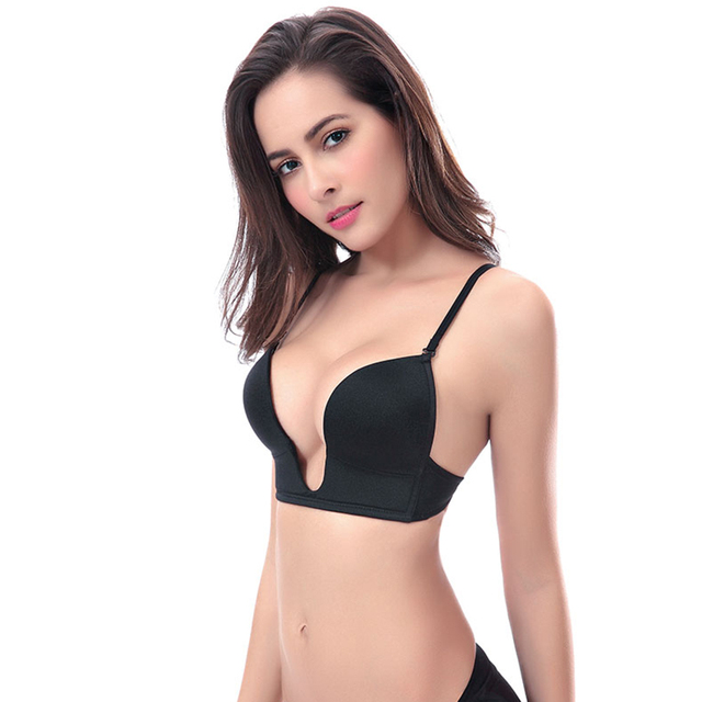 d3d3016ddc0 Breast Gather Push up Bra plunge plus size women Sexy silicone transparent    Simple Straps A B C D E F 70 75 80 85 90 95