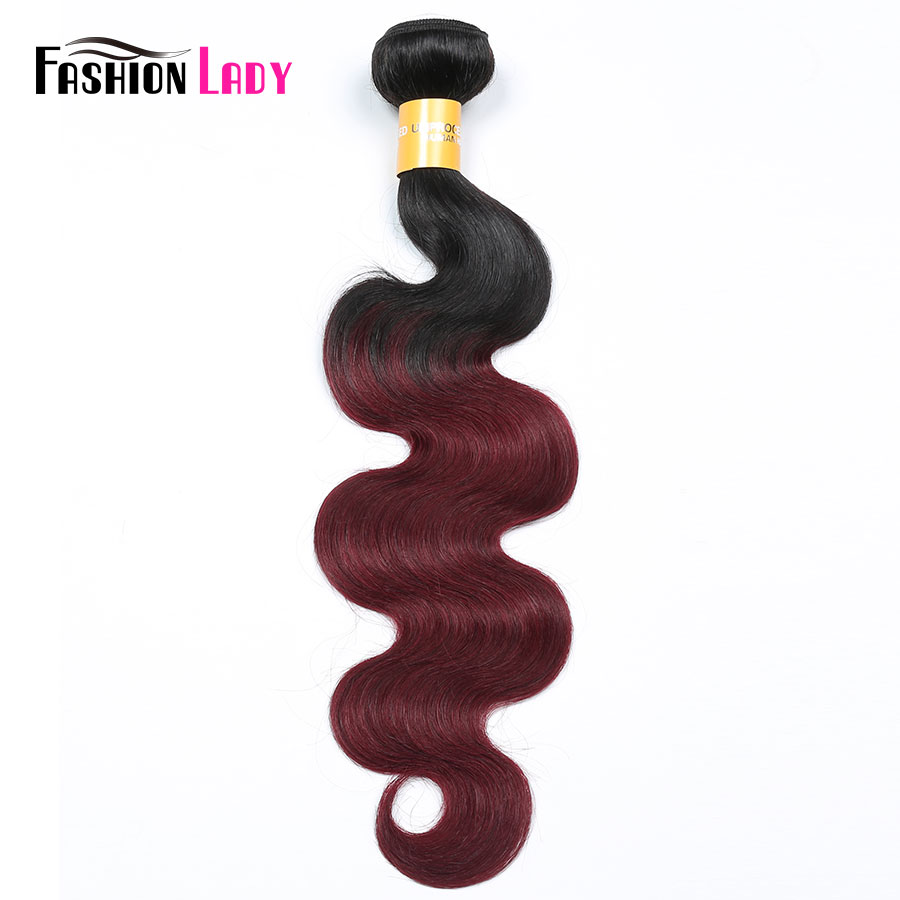 Fashion Lady Pre-Colored Brazilian Hair Body Wave Bundles 2 Tone Weave 1b 99j Ombre Human Hair Weaving 1PC Non-remy Hair