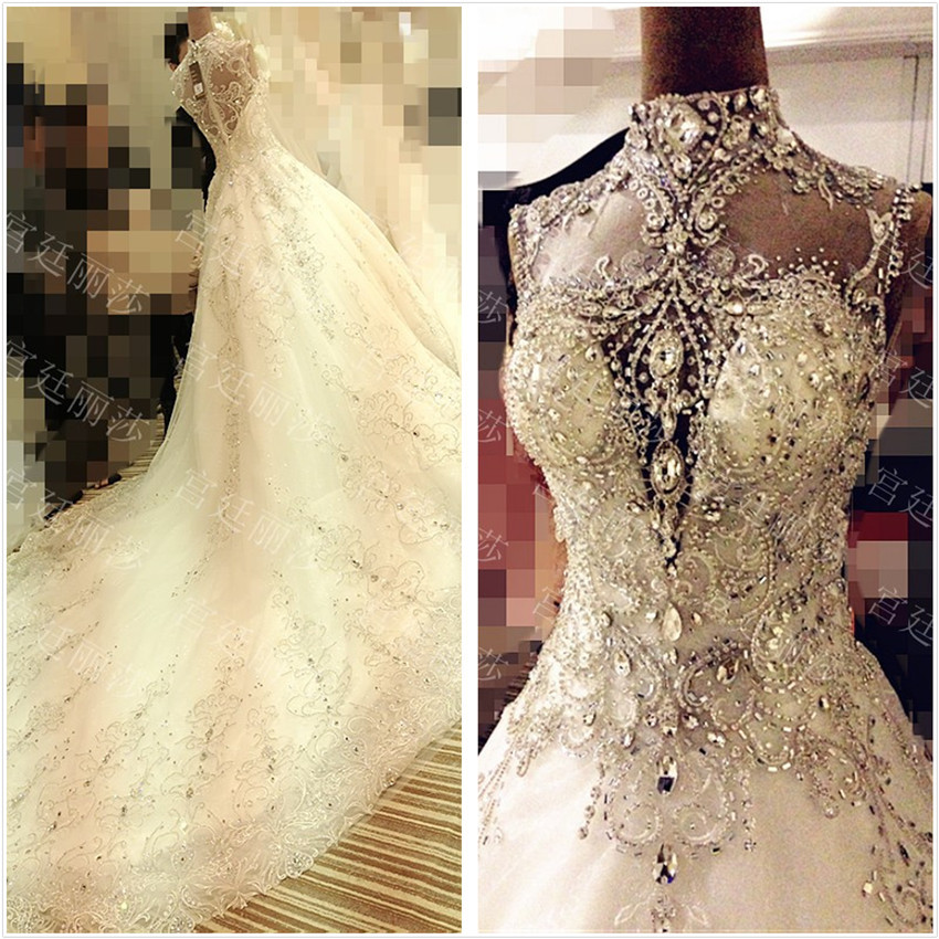 2015 Customize Empire Luxurious Crystal Wedding Dresses Cathedral Lace Gowns Beads Sexy New Bridal Gown Long Royal Tail In From