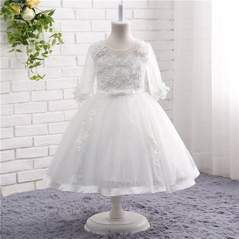 2019 White   Flower     Girl     Dresses   Ball gown Scoop Long Sleeves Floor Length Satin Tulle Ball Gown Kids Wedding Party   Dresses