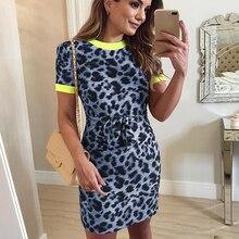 Patchwork O Neck Short Sleeve Sexy Leopard Print Dress Elegant Lady Office Sheath Tunic Casual Plus Size Vestidos