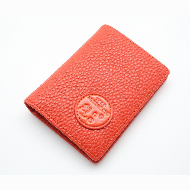 New Orange Fashion Genuine Leather Solid Card Holder Women Hign Quality Business Card Case Stylish Brand Card Box Orange